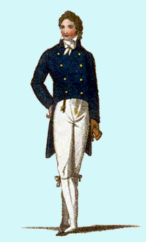 Notes and illustrations on Regency clothing styles, with 1895 Regency fashions for men